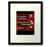 The Captain, The Superhero, and The Writer Quotes Framed Print