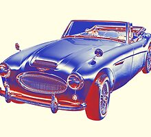 Austin Healey 300 Sports Car Pop Image by KWJphotoart