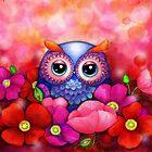 Owl in Poppy Field by Annya Kai