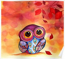 Owl's First Fall Leaf Poster