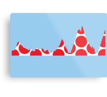 Red Polka Dot Mountain Profile Metal Print