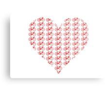 Bike Heart (Red) (Small) Metal Print