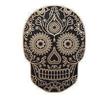Black and Gold Sugar Skull by glnorth