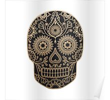 Black and Gold Sugar Skull Poster
