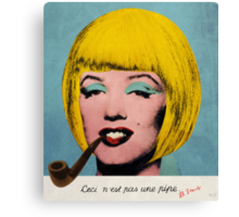 Bob Marilyn Monroe with surreal pipe Canvas Print