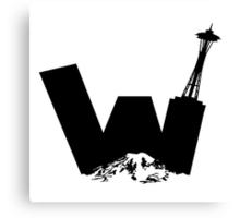 UW logo + Space Needle and Mt. Rainier Canvas Print