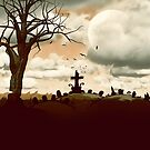Full Moon Graveyard Sepia by webgrrl