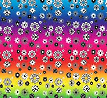 Flower Power Groovy in Rainbow Multicolor by dbvisualarts