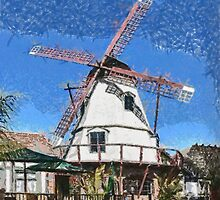 A digital painting of the Windmill at the Solvang Brewing Compan by Dennis Melling