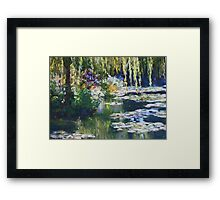 Willow & lilies, Giverny Framed Print