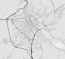 Nancy, France Map. (Black on white) by Graphical-Maps