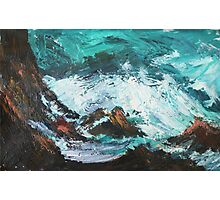 Pacific Rocks California Seascape Acrylics On Paper Fine Art Contemporary Painting Photographic Print