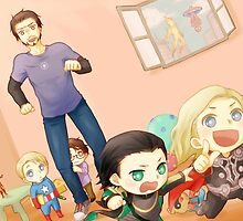 Chibi avengers and loki by Caro96