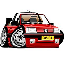 Peugeot 205 CTI caricature red Photographic Print