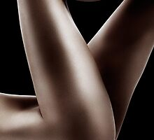 Sexy nude woman legs on black art photo print by ArtNudePhotos