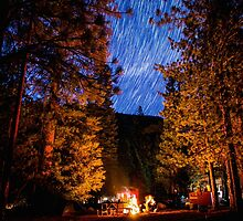 Star Trails Over Camp Forest in King's Canyon by Gavin Heffernan