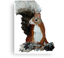 Red Squirrel Woodland Animal Acrylic Painting White Edit Canvas Print