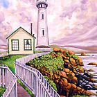 Lighthouse and fenced walkway by Dan Wilcox