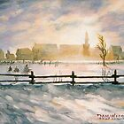 Winter sun setting behind Quebec village by Dan Wilcox
