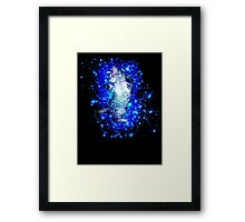 Psychedelic Galaxy Cat in space Framed Print