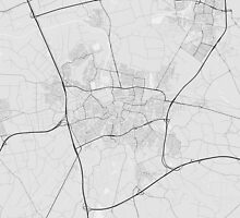 Breda, Netherlands Map. (Black on white) by Graphical-Maps