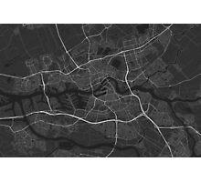 Rotterdam, Netherlands Map. (White on black) Photographic Print