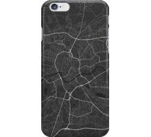 Krakow, Poland Map. (White on black) iPhone Case/Skin