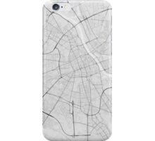 Warsaw, Poland Map. (Black on white) iPhone Case/Skin