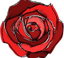 Mixed Media Red Rose Flower by ellawhittle