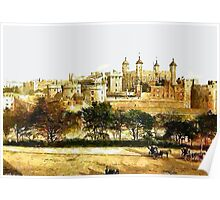 A digital painting of  The Tower, London, England 19th century. Poster