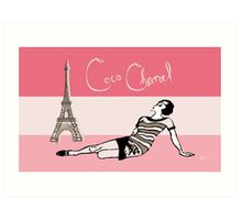 Coco Chanel in the 1920s Portrait in pinks Art Print