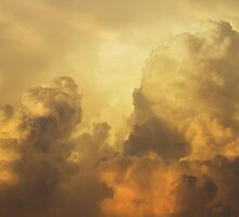 Colorful Orange Yellow Storm Clouds At Sunset by KWJphotoart