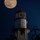 Super Moon Over Diamond Head Lighthouse by Alex Preiss