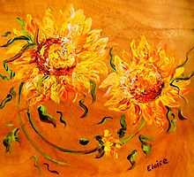 Fiery Sunflowers on Wood by EloiseArt