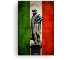 Christopher Columbus Statue with Italian Flag Canvas Print