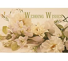 Wedding Wishes Card - White Flowers  Photographic Print