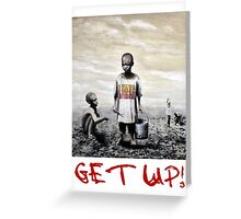 Banksy children tshirt graff GET UP! (Red Font) Greeting Card