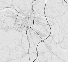 Maribor, Slovenia Map. (Black on white) by Graphical-Maps