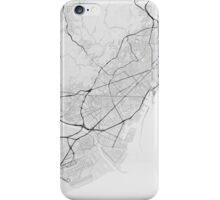Barcelona, Spain Map. (Black on white) iPhone Case/Skin