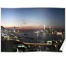 Hong Kong Victoria Bay Skyline At  Twilight Poster