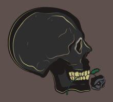Skull with Black Rose by Denis Marsili