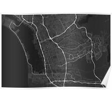 Chula Vista, USA Map. (White on black) Poster