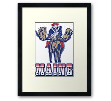 MAINE - Patriot on Mooseback - New England Patriots Framed Print