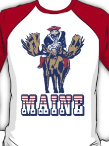 MAINE - Patriot on Mooseback - New England Patriots T-Shirt