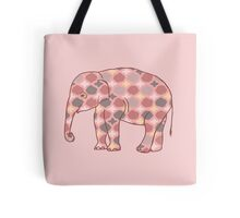 Pink, Gray and Yellow Patterned Elephant Silhouette Tote Bag