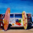 Surf Bus Series - The Lady Flower Power VW Bus by artshop77