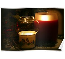 Holly Leaves and Candles All Aglow Poster