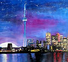 Toronto Skyline At Night With Cn Tower by artshop77