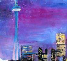 Toronto Skyline At Night With Cn Tower Sticker