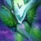 Flight Of The Heart - Green and Purple by Carol  Cavalaris